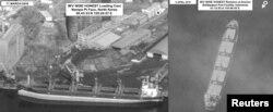 지난 3월 유엔 대북제재위원회가 보고서에서 공개한 북한 화물선 와이즈 어네스트 호 위성사진. 지난해 3월 11일 북한 남포항에서 석탄을 적재한 화물선(왼쪽)이 4월 8일 인도네시아 발릭파판 항 인근 해역으로 이동했다.