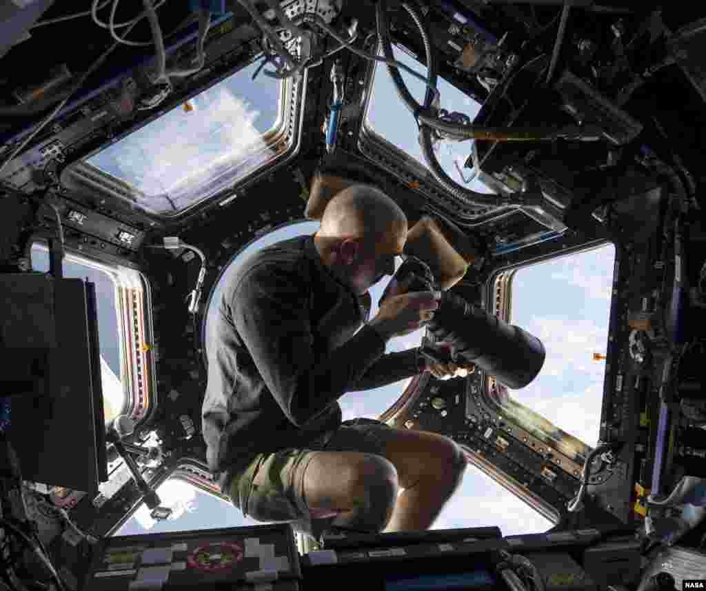 NASA picture inside the Cupola aboard the International Space Station shows NASA astronaut Chris Cassidy, an Expedition 36 flight engineer, using a 400mm lens on a digital still camera to photograph a target of opportunity on Earth some 250 miles below him,June 10, 2013.