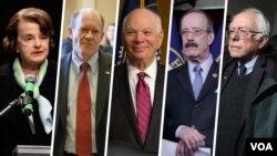 از راست برنی سندرز، الیوت انگل، بن کاردن، کریس کونز و دایان فاینستین