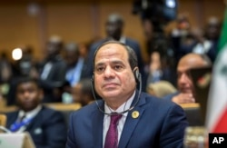 Egypt's President Abdel Fattah el-Sissi listens at the opening ceremony of the African Union summit in Addis Ababa, Ethiopia, Jan. 28, 2018.
