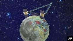 在這幅由美國太空總署提供的沒標明日期繪製的圖像中﹐兩架送入環月軌道的飛船正收集的新重力數據來探索月球
