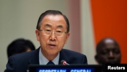 2013年7月18日联合国秘书长潘基文在纽约联合国总部发表讲话。