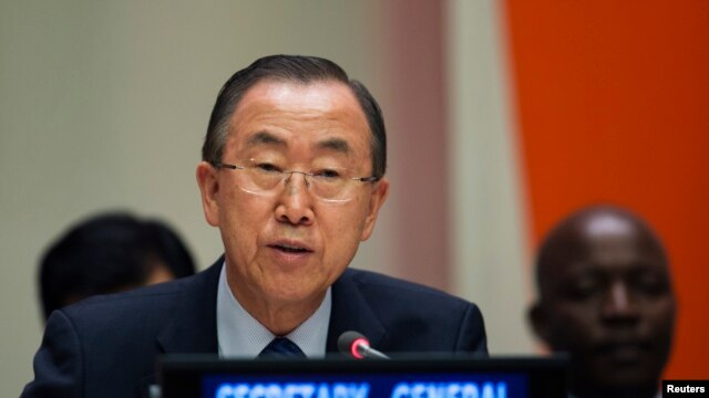 File - United Nations Secretary General Ban Ki-moon  July 18, 2013.