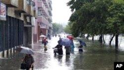 평양 시내 홍수 피해 (자료사진)