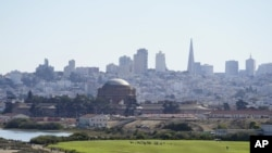 On a clear day is the skyline behind Crissy Field in San Francisco on Oct. 11, 2020. (AP Photo/Eric Risberg)