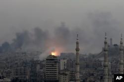 مشرقی حلب پر ہونے والے فضائی حملے کے بعد کا منظر، یہ تصویر 5 دسمبر 2016ء کی ہے