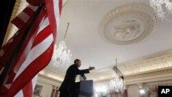 奧巴馬總統星期四在華盛頓發表中東政策講話