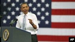 President Barack Obama speaks at Florida Atlantic University in Boca Raton, Florida, April 10, 2012.