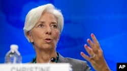 International Monetary Fund (IMF) Managing Director Christine Lagarde speaks during a news conference in Washington, June 22, 2016.