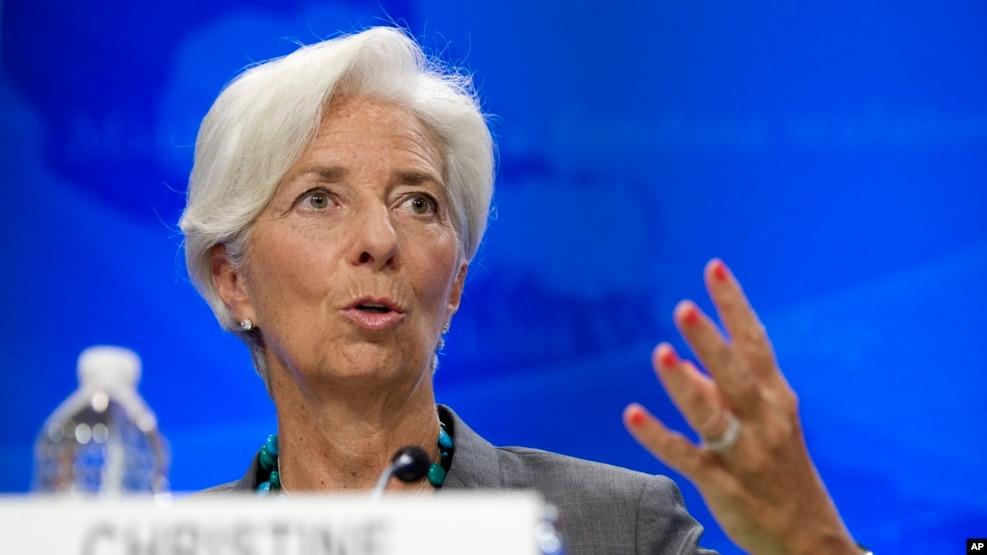Người đứng đầu Quỹ Tiền tệ Quốc tế Christine Lagarde phát biểu trong một buổi họp báo ở Washington, ngày 22 tháng 6 năm 2016.