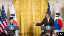 美國總統奧巴馬和南韓總統朴槿惠星期五在白宮舉行聯合記者會。