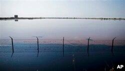 Wastewater pools outside Petrodar oil facility in Paloich, South Sudan. (2010 file photo)