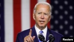 រូបឯកសារ៖ លោក Joe Biden ថ្លែងក្នុងព្រឹត្តិការណ៍យុទ្ធនាការមួយនៅក្នុងក្រុង Wilmington រដ្ឋ Delaware សហរដ្ឋអាមេរិក កាលពីថ្ងៃទី១៤ ខែកក្កដា ឆ្នាំ២០២០។