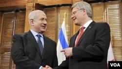 El primer ministro israelí, Benjamin Netanyahu, y el premier canadiense, Stephen Harper tras su encuentro en Ottawa.