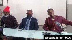 Carlos Sambu (esq), Augusto Mário Silva (cen) e Queba Sané (dir), Bissau, 9 outubro 2020