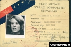 Elizabeth Becker's press card from the war years in 1973. (Courtesy photo of Elizabeth Becker)