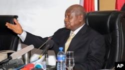 Ugandan President Yoweri Museveni speaks during a mediation session in Bujumbura, Burundi, July 14, 2015.