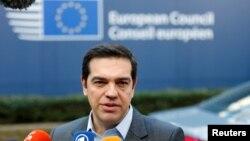 Le Premier ministre grec Alexis Tsipras à Bruxelles au sommet des leaders de l'Union européenne, 15 dec. 15.