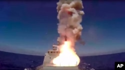 Ảnh do Bộ Quốc phòng Nga cung cấp ngày 31/5/2017 cho thấy tên lửa hành trình được bắn từ Địa Trung Hải.
