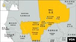 马里及主要城镇地理位置图