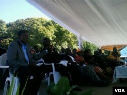 Some of the top officials who attended the rally in Bulawayo.