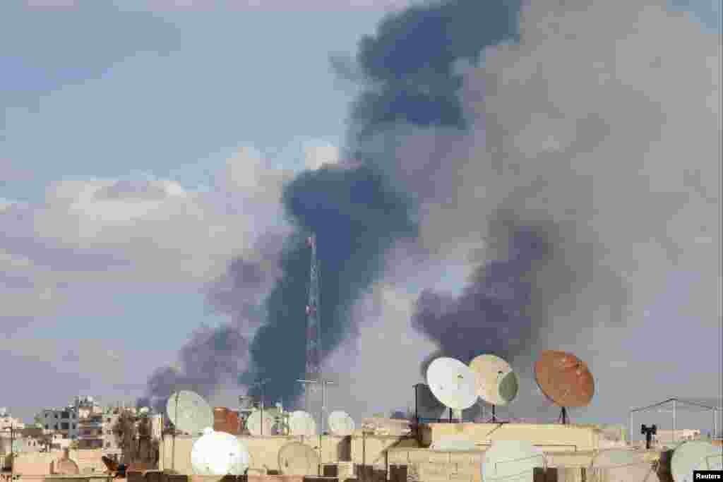 Suriyanın hökumət qüvvələri İslam Dövlətinin nəzarətində olan Raqqa şəhərini bombalayır - 25 noyabr, 2014