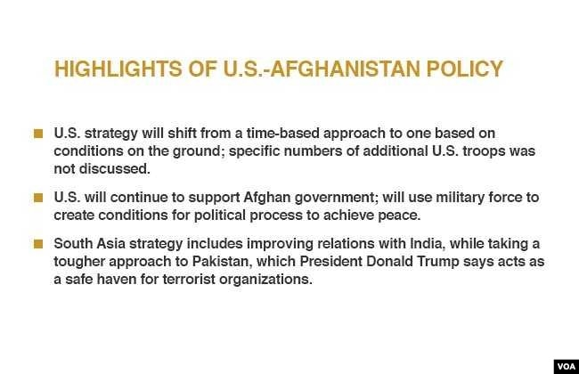Highlights of U.S. - Afghanistan policy