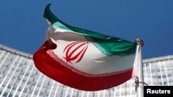 联合国维也纳办公地点外悬挂的伊朗国旗