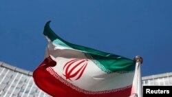 聯合國維也納辦公地點外懸掛的伊朗國旗