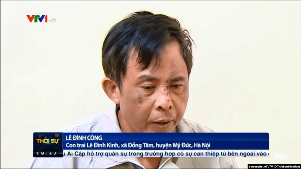 """Ông Lê Đình Công trong một video """"thú tội"""" về vụ Đồng Tâm, phát trên VTV, 14/1/2020"""