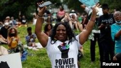 Người dân đón mừng ngày lễ Juneteenth tại Công viên St. Nicholas ở Thành phố New York, bang New York, Mỹ, ngày 18 tháng 6, 2021.