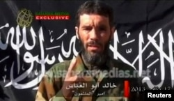 Veteran jihadist Mokhtar Belmokhtar speaks in this undated still image taken from a video released by Sahara Media, Algeria, Jan. 21, 2013.