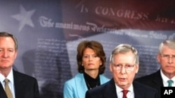 Senate Minority Leader Mitch McConnell (second from r) briefs the media about his congressional delegation's recently completed trip to Afghanistan and Pakistan as Sen. Mike Crapo (left), Sen. Lisa Murkowski and Sen. Roger Wicker (right) listen, 12 Jan 20