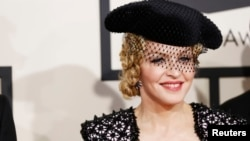 Singer Madonna arrives at the 57th annual Grammy Awards in Los Angeles, California, Feb. 8, 2015.
