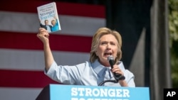 2016年9月5日民主党总统候选人希拉里·克林顿在俄亥俄州发表讲话。