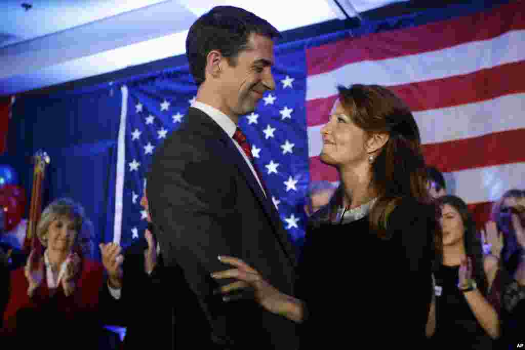 Rep. Tom Cotton, R-Ark. hugs his wife Anna at the his election watch party in North Little Rock, Ark., Nov. 4, 2014. Cotton defeated incumbent Sen. Mark Pryor in the Tuesday election.