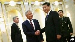 4月9日美國國防部長哈格爾在北京與中國國家主席習近平舉行會晤