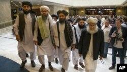 Delegasi Taliban dalam perundingan damai dengan AS (foto: dok).