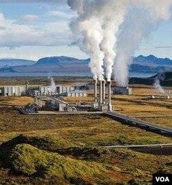 Salah satu contoh pembangkit tenaga listrik dengan menggunakan tenaga panas bumi.