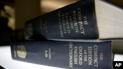 FILE - An Oxford English Dictionary is shown at the headquarters of the Associated Press in New York, Aug. 29, 2010.