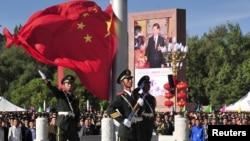 西藏自治区成立50周年纪念仪式(2015年9月8日 资料照片)