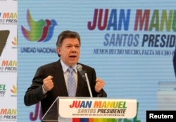 Colombia's President Juan Manuel Santos speaks during a campaign rally in Bogota, April 28, 2014.
