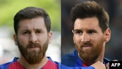 Combo photo shows Reza Parastesh (L) a doppelganger of Barcelona and Argentina's footballer Lionel Messi.