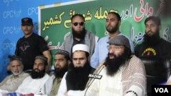 فائل: حزب المجاہدین کے سربراہ سید صلاح الدین مظفر آباد میں ایک نیوز کانفرنس سے خطاب کرتے ہوئے۔