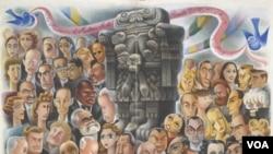 """En 1940, el artista mexicano Miguel Covarrubias ilustró la apertura de las festividades de la noche una exposición titulada """"Veinte siglos de arte mexicano""""."""