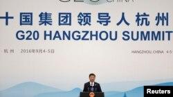 Председатель КНР Си Цзиньпин на закрытии встречи «Большой двадцатки». 5 сентября 2016 г.