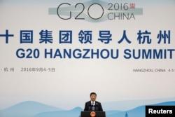 시진핑 중국 국가주석이 지난해 9월 항저우 G20 정상회의 폐막식에서 연설하고 있다.