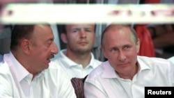 Russia's President Vladimir Putin and Azerbaijan's president Ilham Aliev