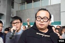 被控暴動罪的學民思潮成員林淳軒。(美國之音湯惠芸)