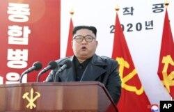 Pemimpin Korea Utara, Kim Jong-un di Pyong Yang, Korea Utara.